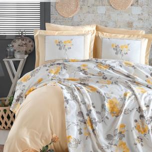 Постельное белье с покрывалом пике Istanbul Home Collection JARDIN хлопковый ранфорс жёлтый евро