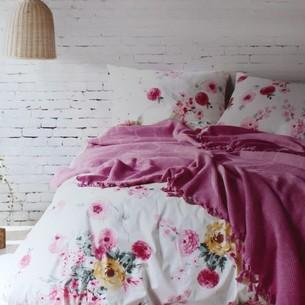 Летнее постельное белье с покрывалом-одеялом пике Saheser MONA хлопковый ранфорс фуксия евро