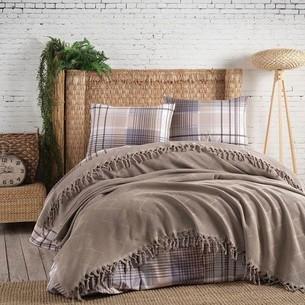 Летнее постельное белье с покрывалом-одеялом пике Saheser MONA хлопковый ранфорс кофейный евро