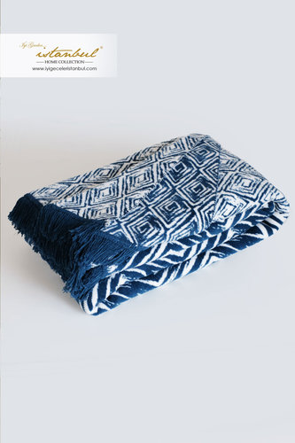 Плед Istanbul ETHNIK хлопок синий 200х220, фото, фотография
