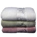 Набор полотенец для ванной 3 шт. Cestepe MICRO DELUX микрокоттон зелёный, сухая роза 70х140, фото, фотография