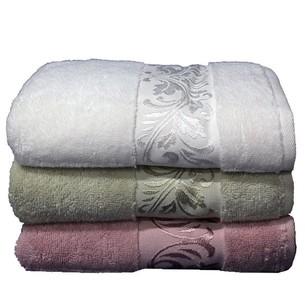 Набор полотенец для ванной 3 шт. Cestepe MICRO DELUX микрокоттон зелёный, сухая роза 50х90