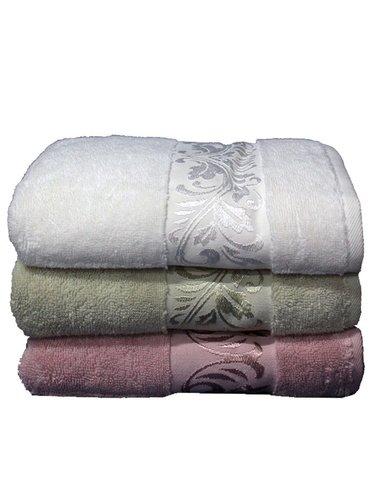 Набор полотенец для ванной 3 шт. Cestepe MICRO DELUX микрокоттон зелёный, сухая роза 50х90, фото, фотография