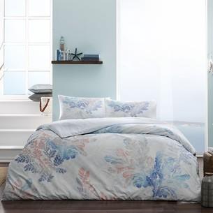 Постельное белье TAC PREMIUM DIGITAL MORNI хлопковый сатин делюкс бирюзовый 1,5 спальный