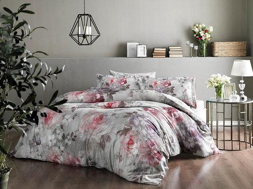 Постельное белье TAC PREMIUM DIGITAL ELISHA хлопковый сатин делюкс пудра 1,5 спальный, фото, фотография