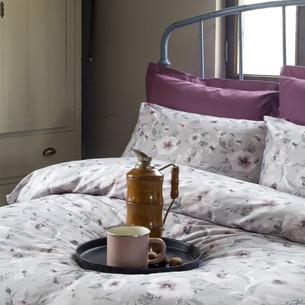 Постельное белье Issimo Home RANFORCE FLORANS хлопковый ранфорс синий, серый 1,5 спальный