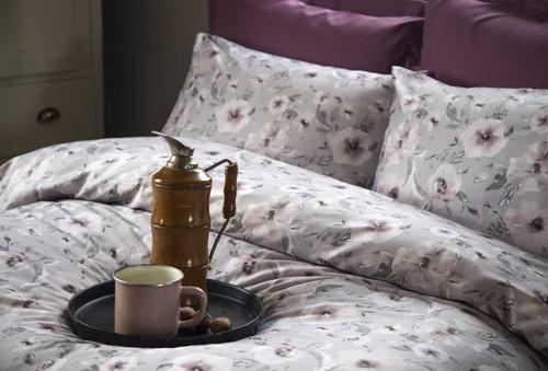 Постельное белье Issimo Home RANFORCE FLORANS хлопковый ранфорс синий, серый 1,5 спальный, фото, фотография