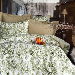 Постельное белье Issimo Home RANFORCE MIRIA хлопковый ранфорс оливковый семейный