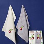 Подарочный набор кухонных полотенец 45х65(2) Karna PEDRO хлопковая вафля V1, фото, фотография
