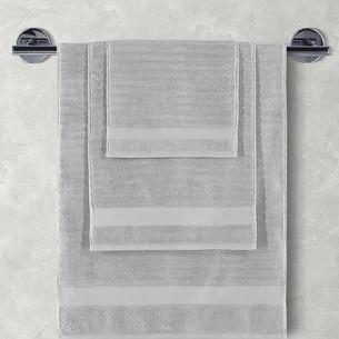 Полотенце для ванной Karna FLOW хлопковая махра серый 50х90