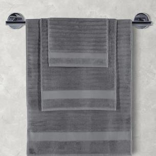 Полотенце для ванной Karna FLOW хлопковая махра тёмно-серый 50х90