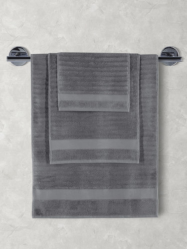Полотенце для ванной Karna FLOW хлопковая махра тёмно-серый 40х60, фото, фотография