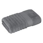 Полотенце для ванной Karna FLOW хлопковая махра тёмно-серый 50х90, фото, фотография