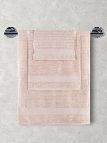 Полотенце для ванной Karna FLOW хлопковая махра пудра 40х60, фото, фотография
