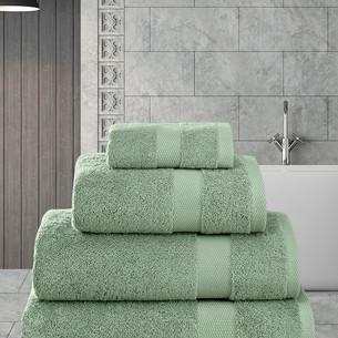 Полотенце для ванной Karna AREL хлопковая махра зелёный 100х150