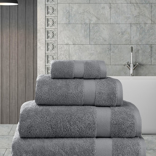 Полотенце для ванной Karna AREL хлопковая махра серый 50х100