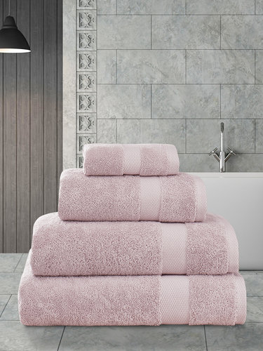 Полотенце для ванной Karna AREL хлопковая махра грязно-розовый 100х150, фото, фотография