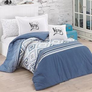 Детское постельное белье Clasy LITTLE KING хлопковый ранфорс синий 1,5 спальный