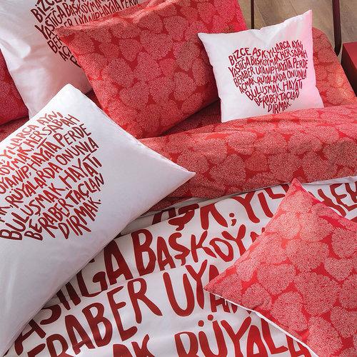 Постельное белье TAC HAPPY DAYS LOVE хлопковый ранфорс красный евро, фото, фотография
