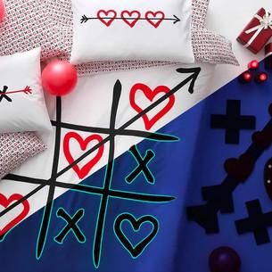 Подростковое постельное белье светящееся TAC XOX хлопковый ранфорс белый, красный 1,5 спальный