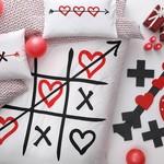 Подростковое постельное белье светящееся TAC XOX хлопковый ранфорс белый, красный 1,5 спальный, фото, фотография