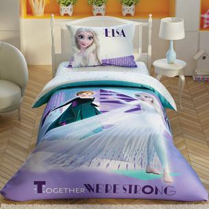 Детское постельное белье светящееся TAC FROZEN 2 CRYSTAL хлопковый ранфорс 1,5 спальный