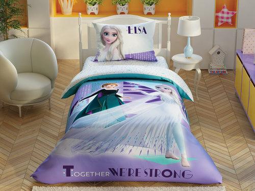 Детское постельное белье светящееся TAC FROZEN 2 CRYSTAL хлопковый ранфорс 1,5 спальный, фото, фотография