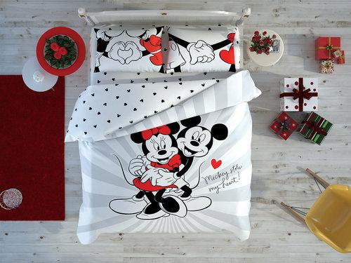 Детское постельное белье светящееся TAC MINNIE & MICKEY LOVE DAY хлопковый ранфорс евро, фото, фотография
