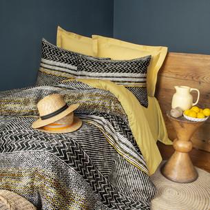 Постельное белье Issimo Home SATIN AFRE хлопковый сатин делюкс золотистый, серый евро