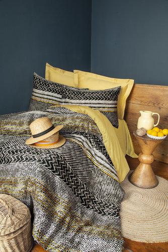 Постельное белье Issimo Home SATIN AFRE хлопковый сатин делюкс золотистый, серый евро, фото, фотография