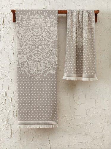 Подарочный набор полотенец для ванной 2 пр. Tivolyo Home HERMES хлопковая махра бежевый, фото, фотография