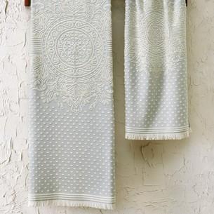 Подарочный набор полотенец для ванной 2 пр. Tivolyo Home HERMES хлопковая махра бирюзовый