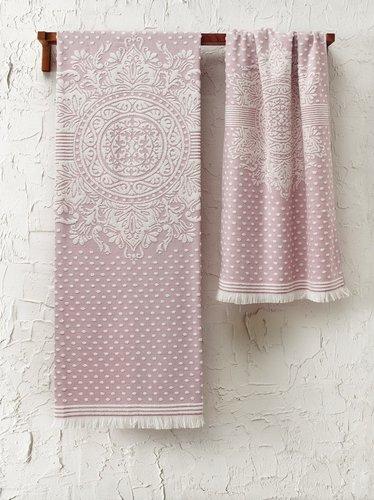 Подарочный набор полотенец для ванной 2 пр. Tivolyo Home HERMES хлопковая махра розовый, фото, фотография