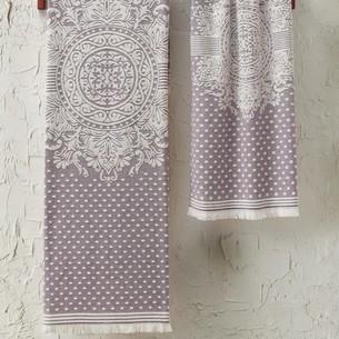Подарочный набор полотенец для ванной 2 пр. Tivolyo Home HERMES хлопковая махра фиолетовый