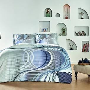 Постельное белье TAC HAPPY DAYS MARINO хлопковый сатин серый, голубой евро