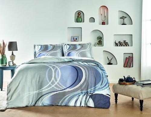Постельное белье TAC HAPPY DAYS MARINO хлопковый сатин серый, голубой евро, фото, фотография
