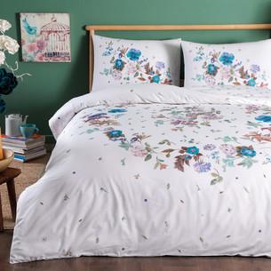 Постельное белье TAC HAPPY DAYS SANDER хлопковый ранфорс белый, голубой 1,5 спальный