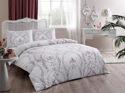 Постельное белье TAC HAPPY DAYS ASTRA хлопковый ранфорс белый, пудра 1,5 спальный, фото, фотография