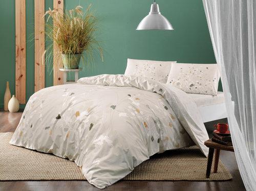 Постельное белье TAC HAPPY DAYS ADENA хлопковый ранфорс бежевый 1,5 спальный, фото, фотография