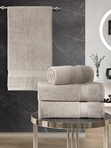 Подарочный набор полотенец для ванной 50х100(2), 70х140(2) Karna AREL хлопковая махра кофейный, фото, фотография