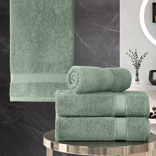 Подарочный набор полотенец для ванной 50х100(2), 70х140(2) Karna AREL хлопковая махра зелёный
