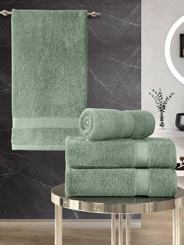 Подарочный набор полотенец для ванной 50х100(2), 70х140(2) Karna AREL хлопковая махра зелёный, фото, фотография