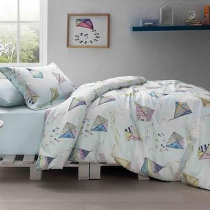 Детское постельное белье Tivolyo Home KITE хлопковый сатин делюкс 1,5 спальный