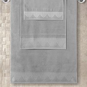 Полотенце для ванной Karna SIESTA хлопковая махра серый 50х90