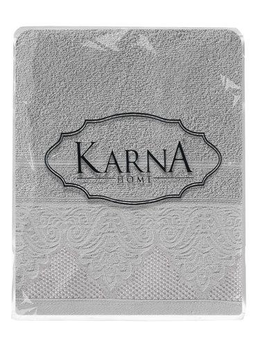 Полотенце для ванной Karna SIESTA хлопковая махра серый 50х90, фото, фотография