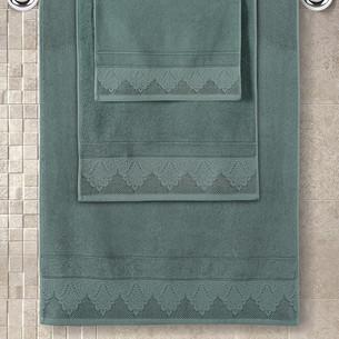 Полотенце для ванной Karna SIESTA хлопковая махра зелёный 70х140