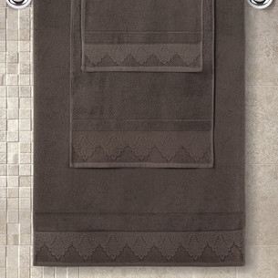 Полотенце для ванной Karna SIESTA хлопковая махра коричневый 50х90