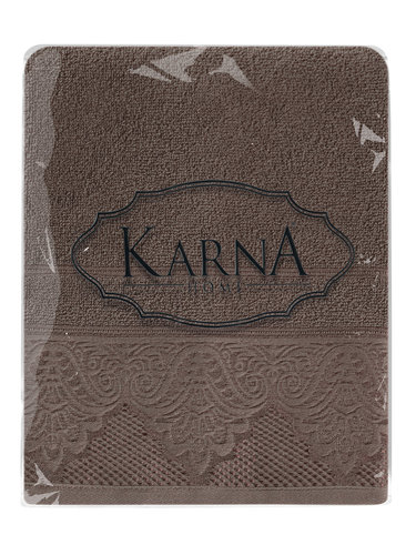 Полотенце для ванной Karna SIESTA хлопковая махра коричневый 70х140, фото, фотография