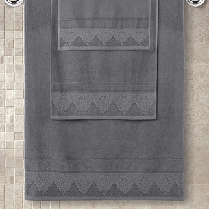 Полотенце для ванной Karna SIESTA хлопковая махра тёмно-серый 70х140
