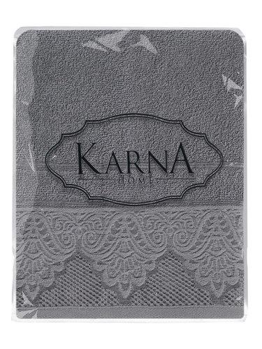 Полотенце для ванной Karna SIESTA хлопковая махра тёмно-серый 70х140, фото, фотография